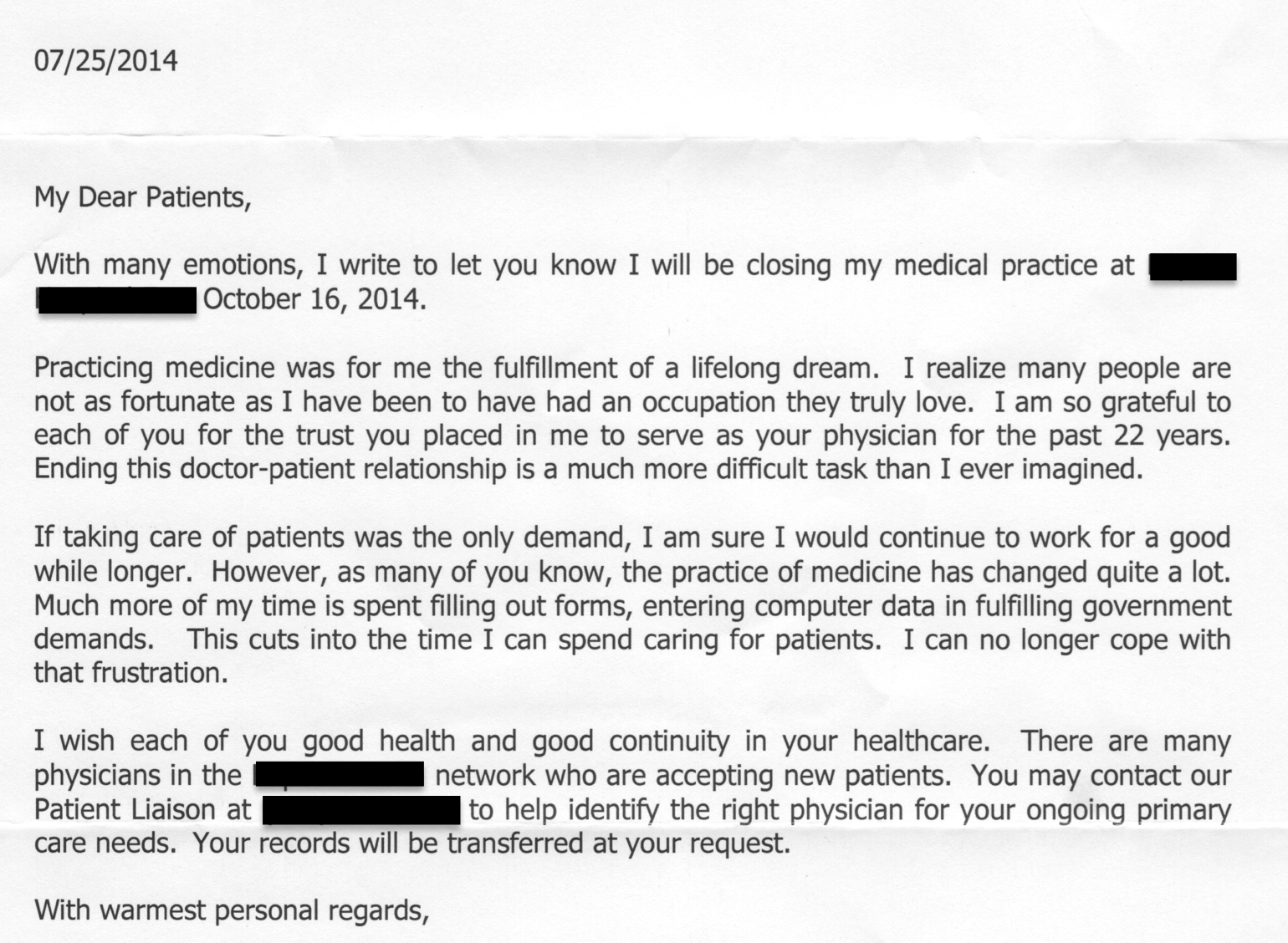 Physician Retirement Letter To Patients A Letter To Patients And Caregivers  U2014 Improving US Healthcare Is  Retirement Letters